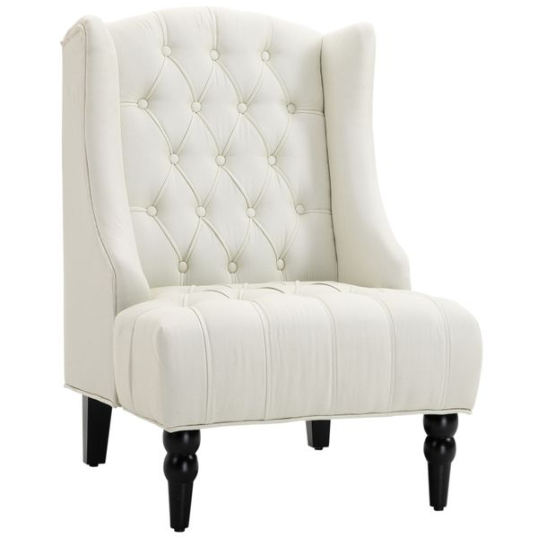 HOMCOM Linen Fabric Button Tufted Tall Wingback Accent Chair with Wooden Legs - Beige|AOSOM.COM