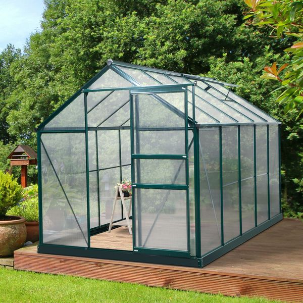 Outsunny 10' x 6' x 7' Aluminum Polycarbonate Portable Walk-In Garden Greenhouse with Rooftop Vent & UV-Resistant Walls 10'x6'x7' Frame Outdoor Plant | Aosom