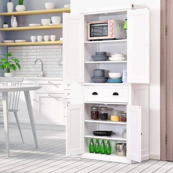 Homcom Free Standing Kitchen Pantry Traditional Kitchen Pantry Cabinet Cupboard With Doors And Shelves Adjustable Shelving White Wooden Organizer Home Furniture Pantry Buffet Aosom
