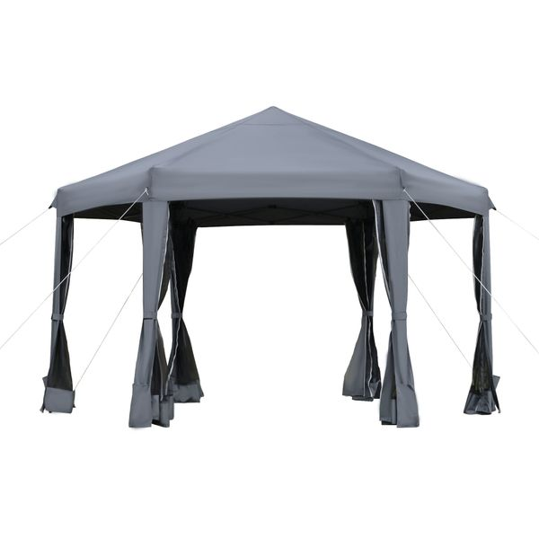Outsunny 12.5' Pop Up Gazebo Hexagonal Canopy Tent Outdoor Shelter Pavilion Sun Protection with Mesh Sidewalls, Handy Bag, Dark Grey w/ | Aosom