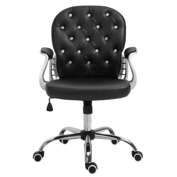 Vinsetto Rolling Chair Armchair Office Chair Vanity Middle Back Office Chair Tufted Backrest Swivel Rolling Wheels Height Adjustable Task Chair With Armrests - Black   Aosom
