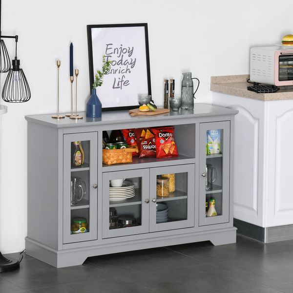 Homcom Storage Sideboard Modern Kitchen Sideboard Buffet Server Cabinet With Glass Doors/Tv Stand Console Table For Living Room Grey Wood | Aosom