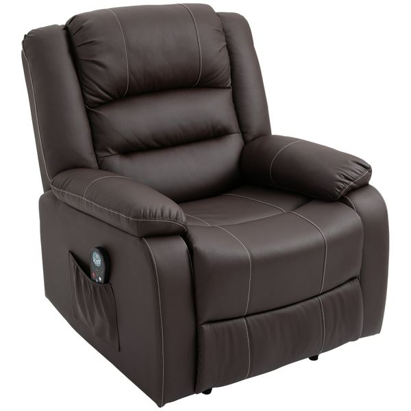 HOMCOM Massage Recliner Chair PU Leather Vibrating Recliner