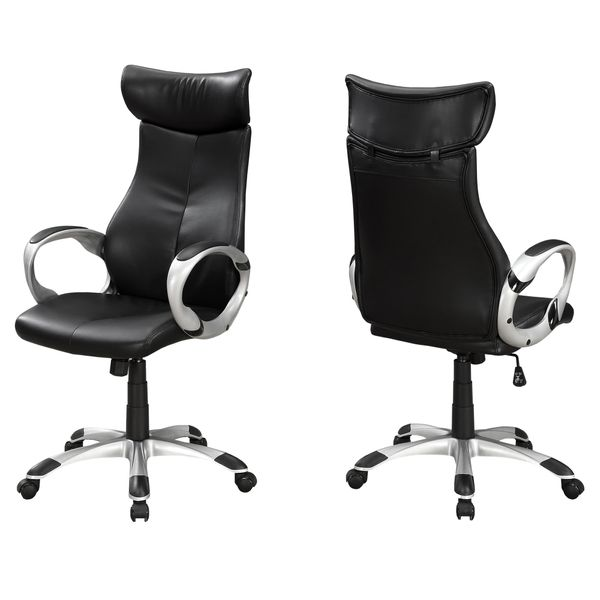 Monarch Contemporary Ergonomic Faux Leather Swivelling Executive Office Chair - Black / Silver | Aosom