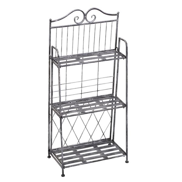 Outsunny 3-Tier Metal Folding Plant Stand Display Rack Indoor Outdoor Bookshelf Unit   Aosom