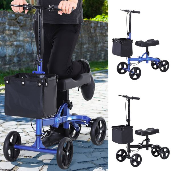 Foldable Dual Pad Steerable Leg Knee Walker Scooter with Basket Attachment|AOSOM.COM
