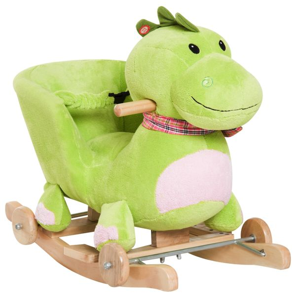 Qaba 2-in-1 Children Ride on Rocking & Rolling Dragon Animal Rocker Toy Chair / Interactive kids plush rocking dinosaur toy With 32 Songs and Rhymes | Aosom