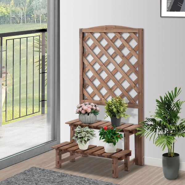 Outsunny 2-Level Wooden Garden Plant Stand with Climbing Vine Trellis & Fir Wood Construction for the Backyard  Brown 2-Tier Planter Display w/ | Aosom