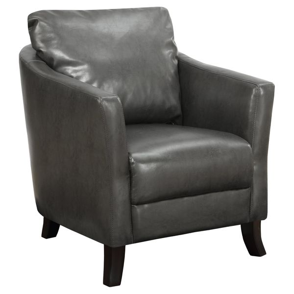 Monarch Elegant Plush Upholstered Leather-Look Accent Club Chair - Charcoal Grey | Aosom