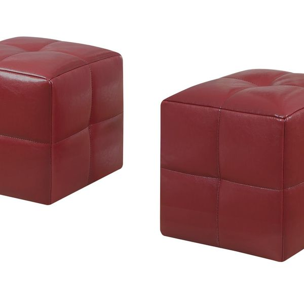 Monarch Two Piece Kids' Padded Upholstered Ottoman Set - Red Leather-Look | Aosom