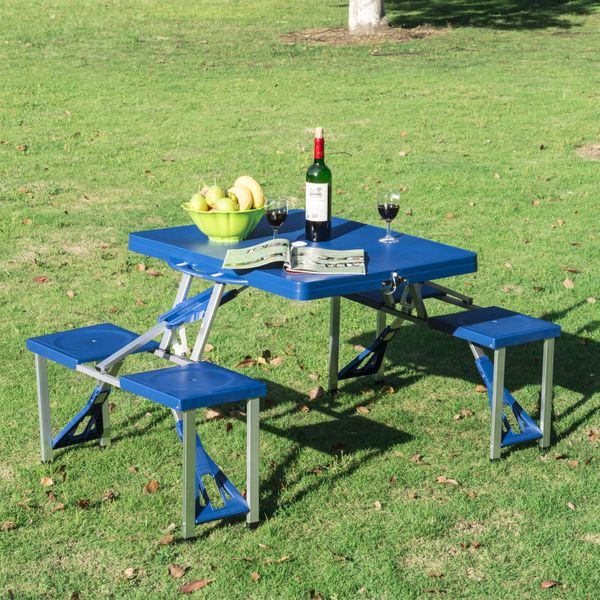 Outsunny Portable Folding Picnic Table - Blue Lightweight Suitcase w4 Built-In Chairs, portable folding picnic table | Aosom