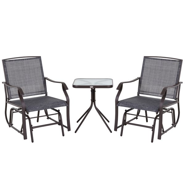 Outsunny Outdoor Fabric Glider Chair with Table Set for Two Ideal Porch and Balcony Furniture for Outdoor Lounging 3pcs Sling   Aosom