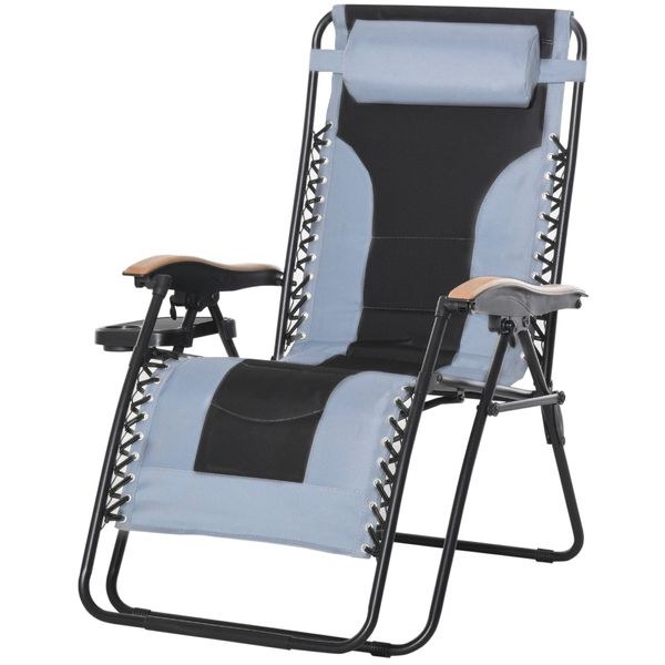 Outsunny Adjustable Zero Gravity Lounge Chair Folding Patio Recliner with Cup Holder Tray & Headrest  Grey/Black;   Aosom