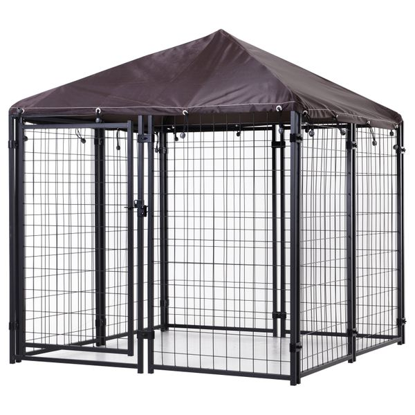 PawHut Lockable Dog House Kennel with Water-resistant Roof for Small and Medium Sized Pets | Aosom