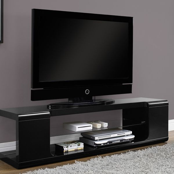 """Monarch 60"""" Modern High Glossy Finish Tempered Glass Storage Shelf with Open Concept Storage TV Console Stand - Black 