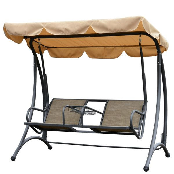 Outsunny 2 Person Outdoor Covered Porch Canopy Swing Bench Chair with Stand|AOSOM.COM