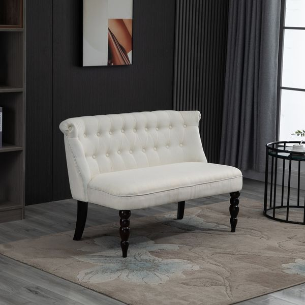 HOMCOM Armless Fabric Loveseat Double Seat Sofa Tufted Upholstery Couch for Living Room with Wood Legs | Aosom