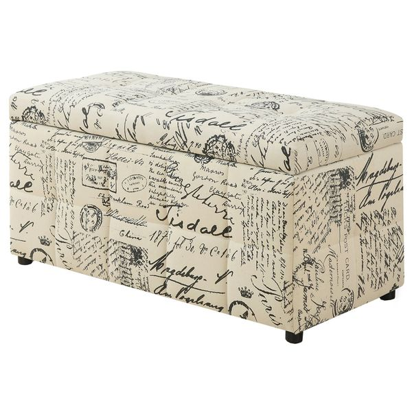 "Monarch 38"" Vintage French Fabric Storage Ottoman"