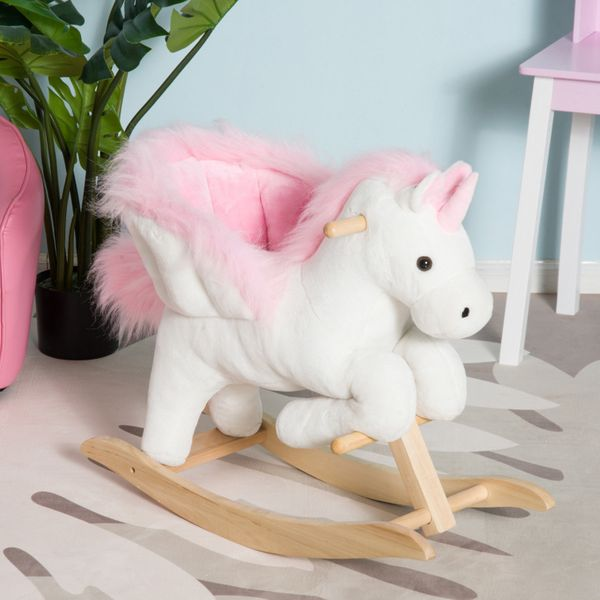 Qaba Kids Rocking Chair Plush Unicorn With Sing Along Song  Baby Kid Toy Wooden Horse kid's plush unicorn rocking horse|Aosom.com