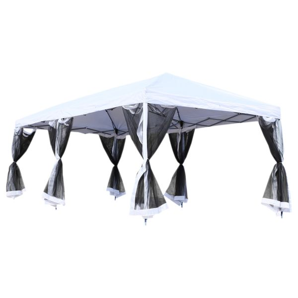 Outsunny 10' x 20' Easy Pop Up Canopy Party Tent with 6 Removable Mesh Sidewalls - Cream White|AOSOM.COM