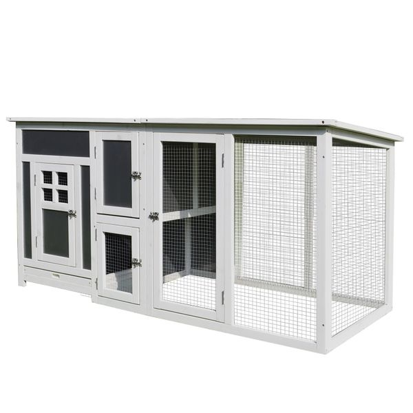 "PawHut Chicken Coop 63"" Wood Large Indoor Outdoor Chicken Coop Fun Outside Run & Cozy Home-Like Nesting Box - Grey and White 