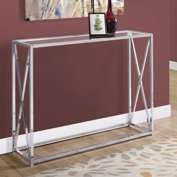 """Monarch 42"""" Contemporary Tempered Glass Accent Hall Sofa Console Table with X-Design Metal Base - Chrome 
