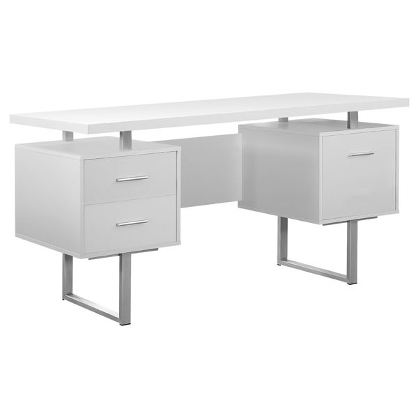 """Monarch 60"""" Contemporary Floating Top Hollow-Core Office Desk with 2 Storage Drawers and File Drawer - White / Silver Metal   Aosom"""