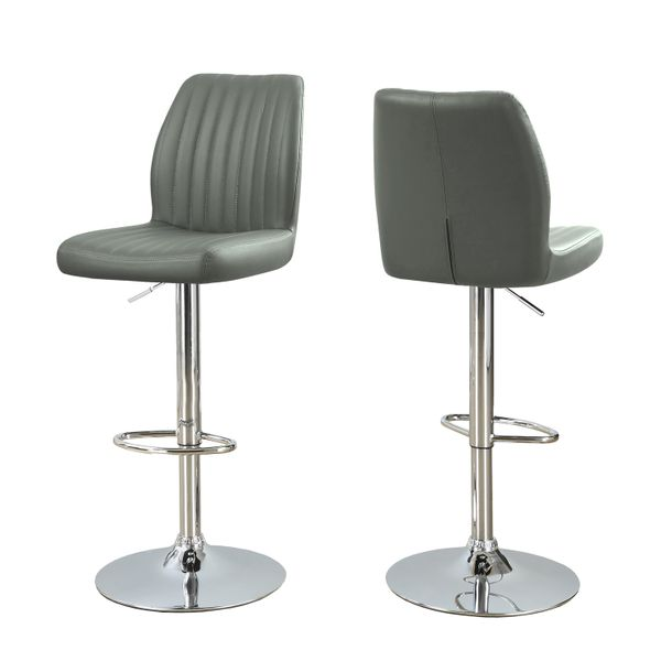 Monarch 2 Piece Contemporary PU Leather Vertical Ribbed Seat Chrome Base Hydraulic Lift Swivel Barstool Chair Set - Grey Finish   Aosom