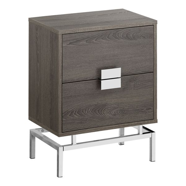 """Monarch 24"""" Retro Inspired 2 Drawer End Table Night Stand with Metal Base - Dark Taupe Wood Grain-Look / Chrome Metal Base 