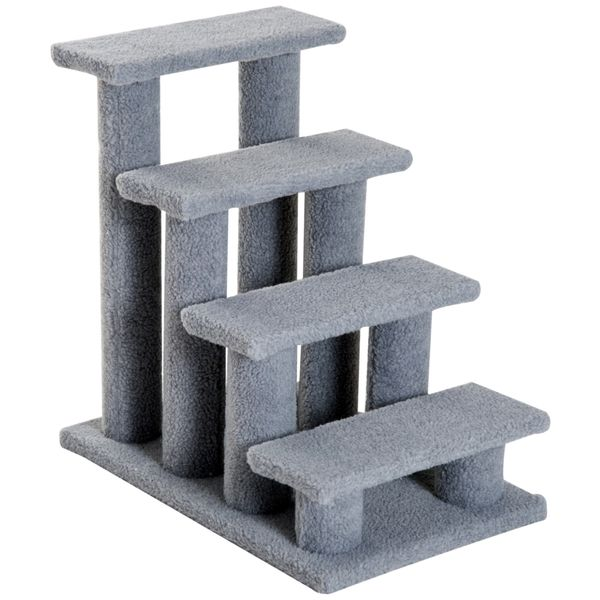 """PawHut 24"""" 4 Steps Carpeted Cat Scratching Post Pet Stairs Senior Old Cat Dog Comfort Steps- Grey 