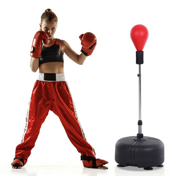 Soozier Boxing Ball Set Puching Bag Free-stand Spring Speed Stable Base Scution Cup Adjustable Height Teenager Adult 4-Level | Aosom
