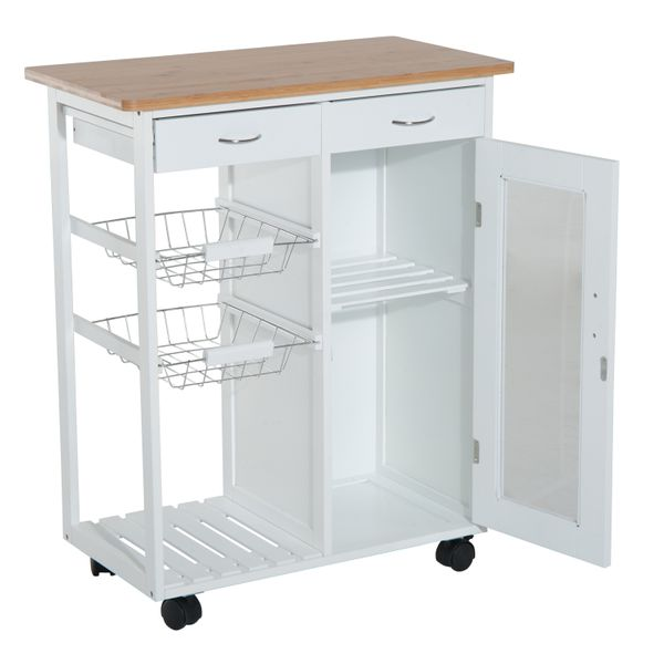 "Homcom Cart For Kitchen 28"" Kitchen Rolling Island Cart Cabinet Organizer Appliance Cart With Basket Storage / Rolling Kitchen Cabinet Cart Trolley Serving Drawers 