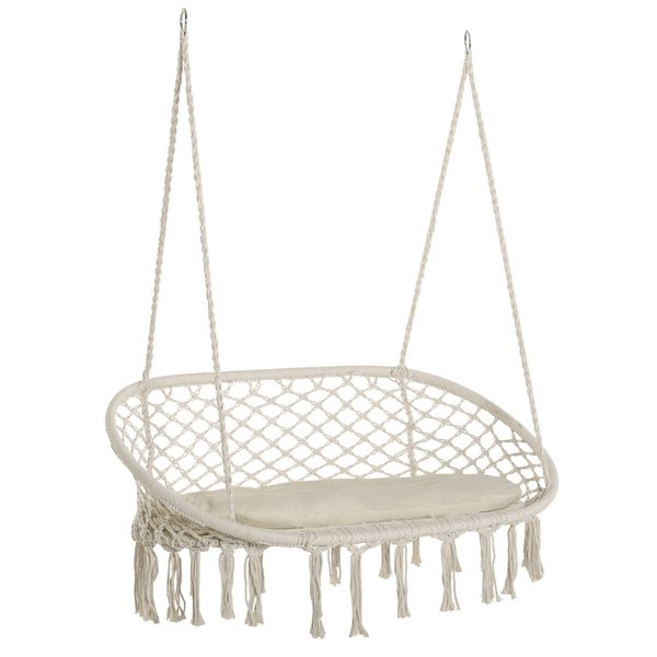 Outsunny Hanging Hammock Chair Cotton Rope Porch Swing with Metal Frame and Cushion, Large Macrame Seat for Patio, Garden, Bedroom, Living Room, Cream White Patio Garden | Aosom