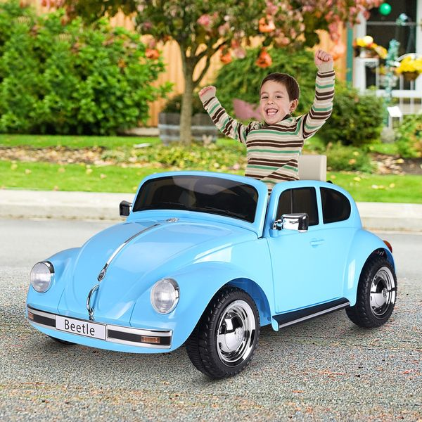 Aosom Licensed Volkswagen Beetle Ride-on Kids Electric Car with Secondary Remote Control & Extra Wide Safety Tires Blue Outdoor Children's Toy | Aosom