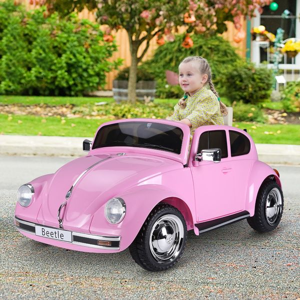 Aosom Licensed Volkswagen Beetle Ride-on Kids Electric Car with Secondary Remote Control & Extra Wide Safety Tires  Pink Outdoor Children's Toy w/ | Aosom