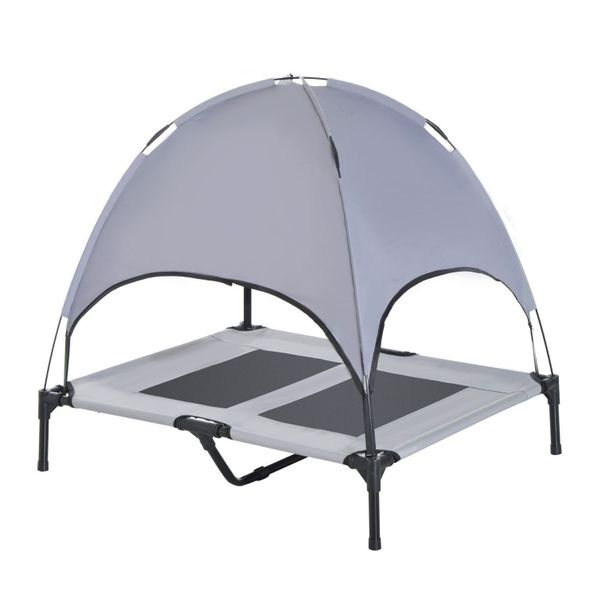 """PawHut 36"""" x 30"""" Elevated Dog Cot Cooling Pet Bed With UV Protection Canopy Shade / Gray elevated dog cot with canopy   Aosom"""
