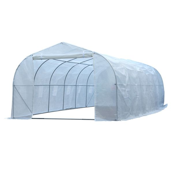 Outsunny 26.25' Extra Large Walk-In Greenhouse Outdoor Plant Gardening w/ PE Cover - Spacious Heavy Duty Greenhouse|Aosom.com
