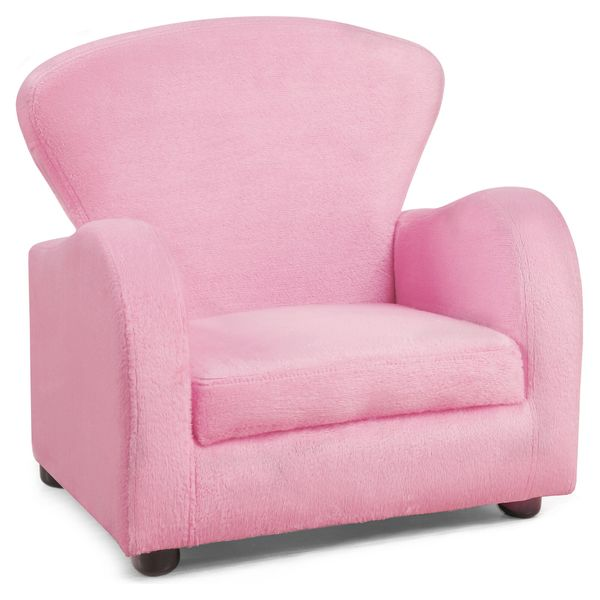 Monarch Kids' Padded Upholstered Accent Arm Chair - Fuzzy Pink | Aosom