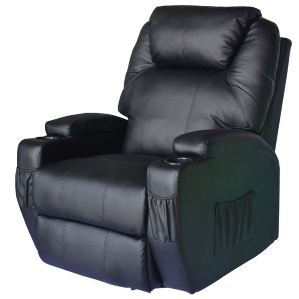 Home Massage Chair PU Leather Vibrating   Aosom US / HOMCOM Luxury Faux Heated Recliner with Remote - heated vibrating recliner chair   Aosom