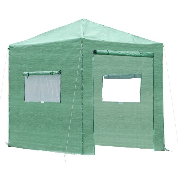 Outsunny Walk In Greenhouse 8' X 6' Portable Backyard Greenhouse With Roll-Up Door & 2 Windows Outdoor For Plants Garden Foldable Greenhouse PE Cover - Green | Aosom
