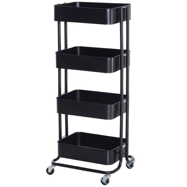 HOMCOM 4-Tier Rolling Metal Kitchen Utility Cart Trolley with Storage - Black|AOSOM.COM