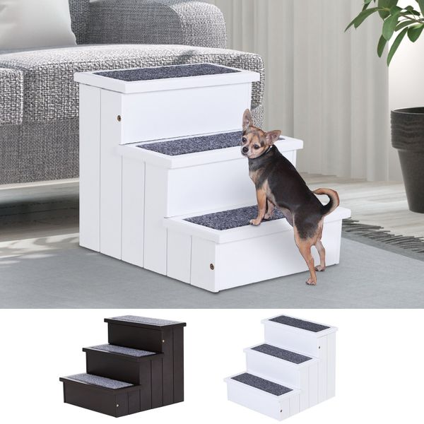 3 Step Wooden Carpeted Non Slip Pet Stairs Ramp for Cats and Small Dogs|AOSOM.COM