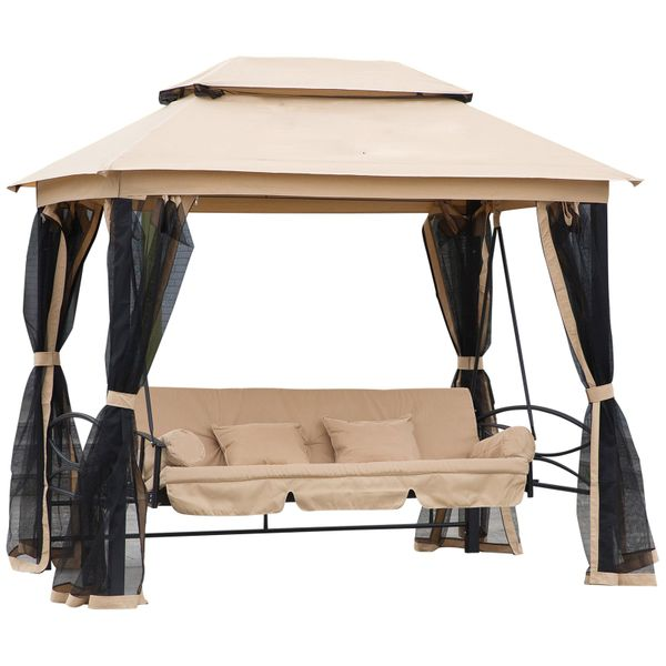 Outsunny 3 Person Outdoor Patio Daybed Canopy Gazebo Swing with Mesh Walls Relaxing Covered Hammock Tent Furniture aosom.com