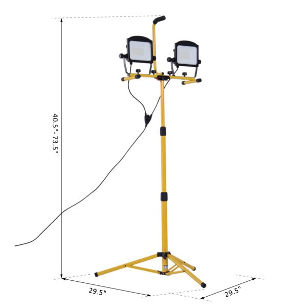 HOMCOM 10000 Lumen Dual Head Weather Resistant LED Work Lights with Tripod Stand   Aosom