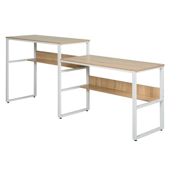 Homcom Double Computer Desks Industrial Style Double Sided Computer Desk With Strong Steel Metal Frame & Two Large Work Surfaces Dual Side Laptop Home Office W/ Storage - Natural | Aosom