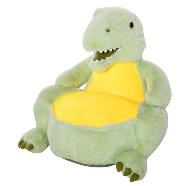 """Qaba Kids Couch Dinosaur with Armrest Flannel PP Cotton 22"""" L x 19.25"""" W x 21.75"""" H Seat 