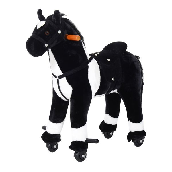 Qaba Kids Plush Ride On Walking Horse with Wheels – Black / Interactive plush walking horse with wheels | Aosom