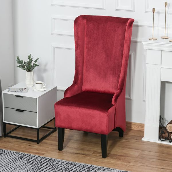 HOMCOM Retro Armless Velvet Upholstered Dining Chair with Curved Backrest and Birch Legs High Back Accent Leisure Chair  Red | Aosom