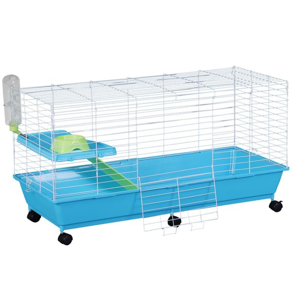 """PawHut 40"""" Steel Plastic Small Animal Pet Cage Kit with Wheels - Blue and Black 