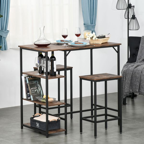 HOMCOM 3 Piece Industrial Bar Height Dining Table Set w/Storage Shelf & 2 Stools for Dining Room or Kitchen  Black/Brown Black | Aosom